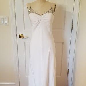 White Evening Dress with Rhinestone Neckline